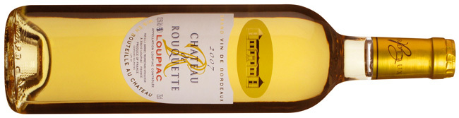 Château de Rouquette, Loupiac, Bordeaux. Blanc moelleux. Couleur dorée, nez fleuri, bouche généreuse, d'agrume et longueur en bouche légèrement salé.  Sweet white. Golden color, floral nose, generous mouth, citrus and slightly salty aftertaste.